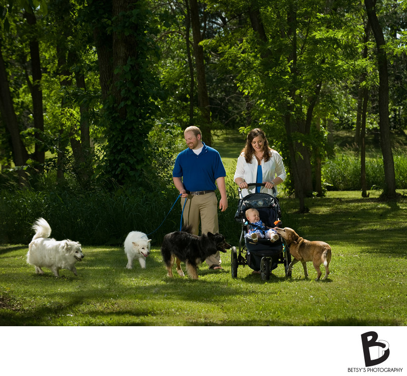 Family Portrait with Dogs + Baby Outdoors