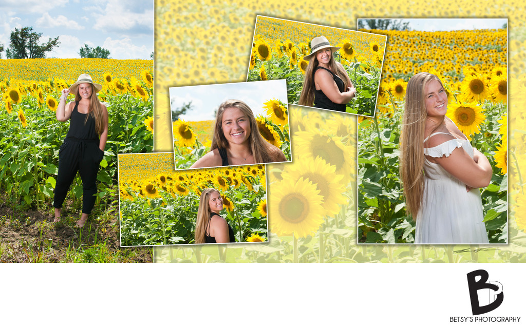 Senior Portraits in a Field of Sunflowers (Dexter, MI)