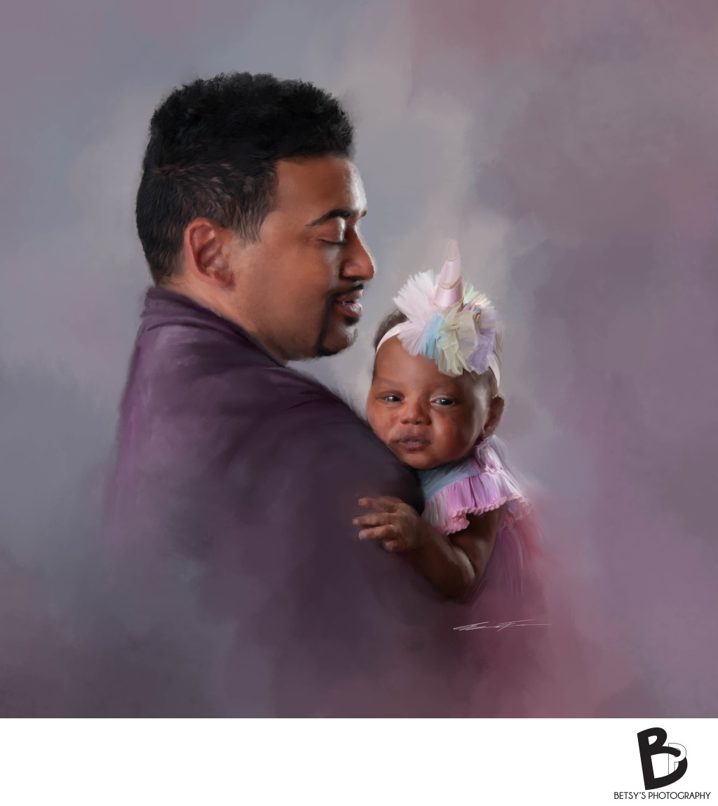Painted Portrait of a Father + Daughter