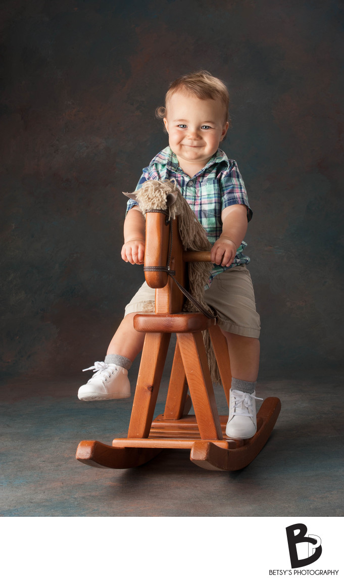 Boy on Rocking Horse (Ann Arbor Baby Photographer)