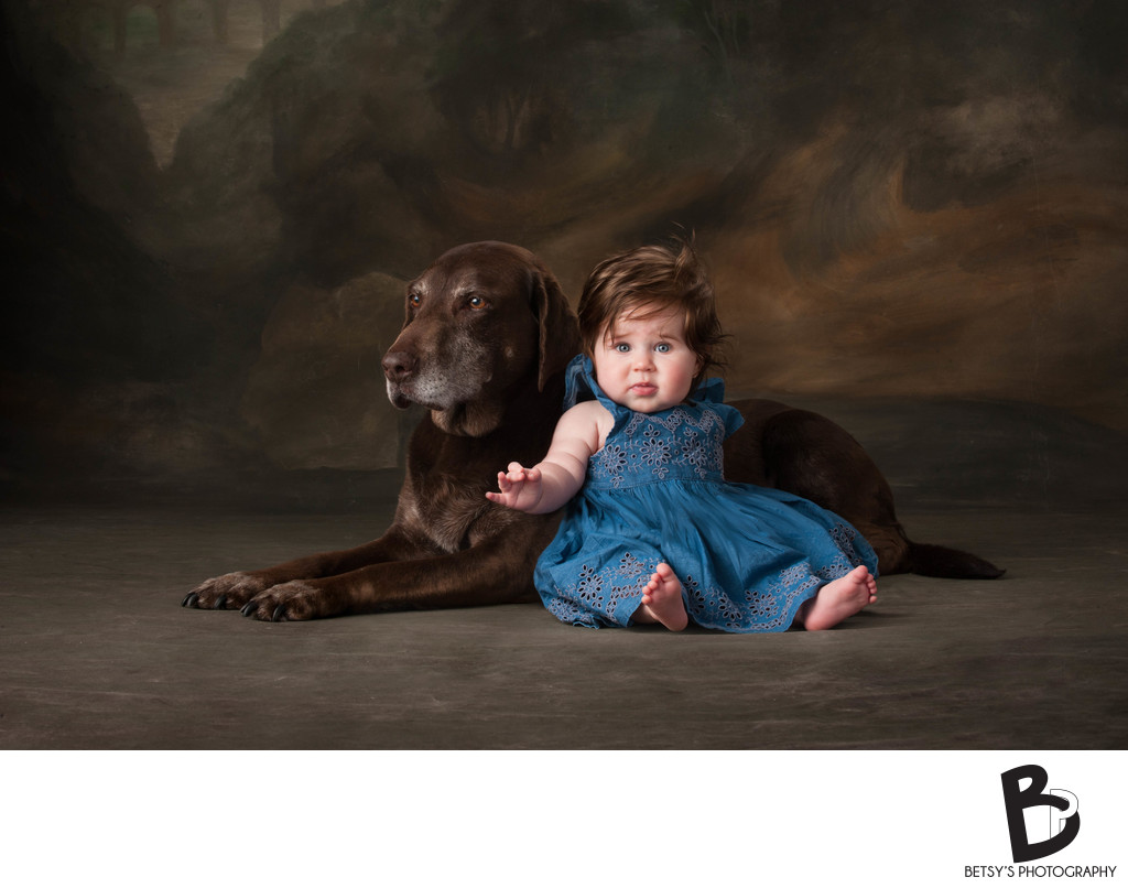 Baby Girl Portrait with Labrador Retriever