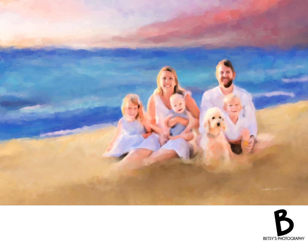 Sunset At The Beach - Painted Family Portrait
