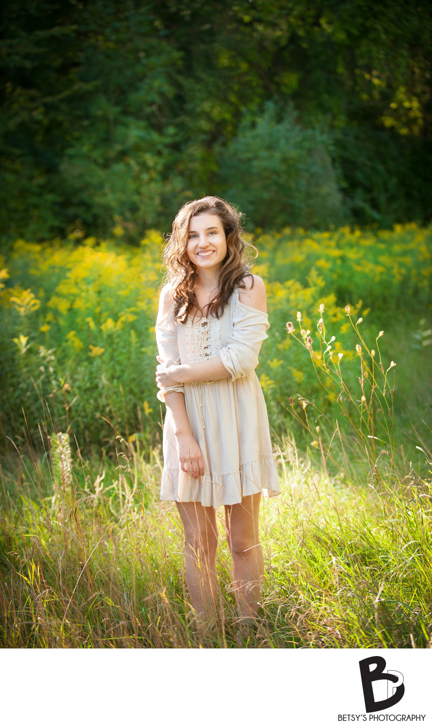 Senior Portrait in a Grassy Field (Nature Preserve)