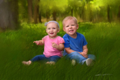 Painting of Kids (created from a photo)