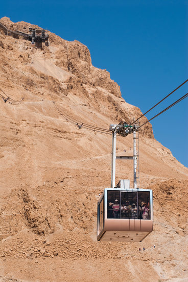 Cable Car Carrying Tourists in Masada Israel - Fine Art
