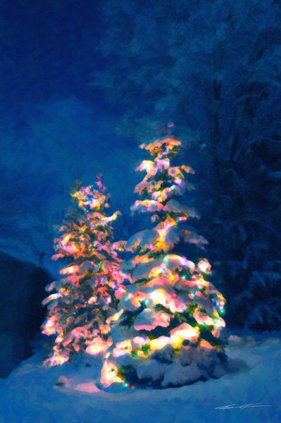 Christmas Trees on a Snowy Night, Painting