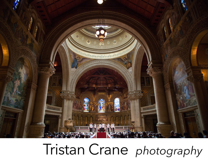 Dapper gay wedding at Stanford Memorial Church