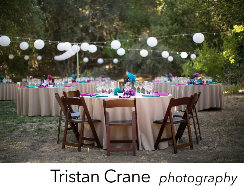 Reception decorations at a rustic wedding