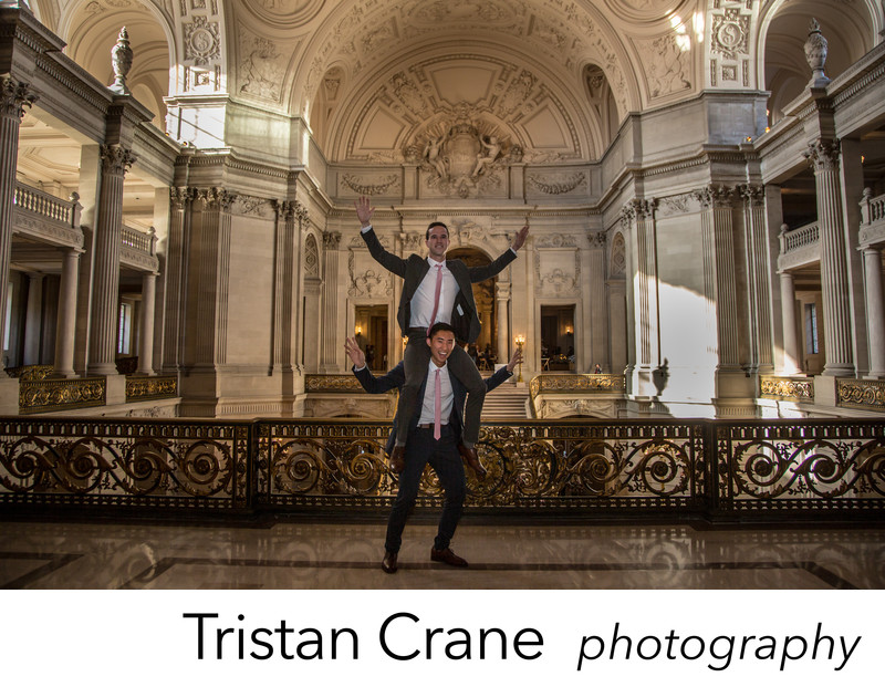 Dapper grooms married at San Francisco City Hall