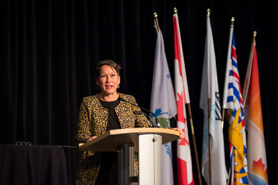 Minister speaking at a corporate gala in Vancouver, BC