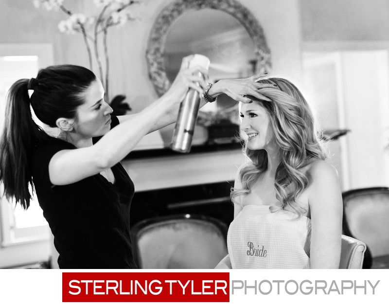 bride getting hair done hairspray beverly hills hotel