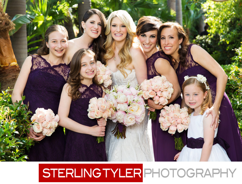 beautiful bride with bridesmaids at beverly hills hotel