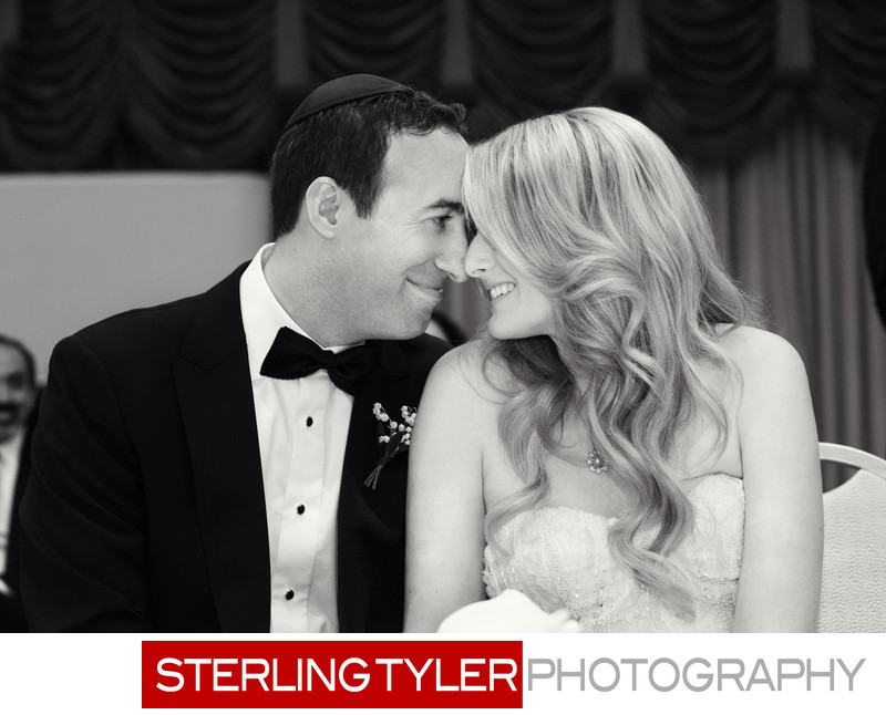 cute black and white wedding candid at beverly hills hotel