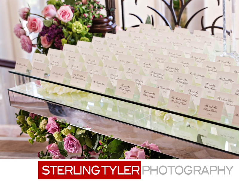 crystal ballroom place card table wedding photography