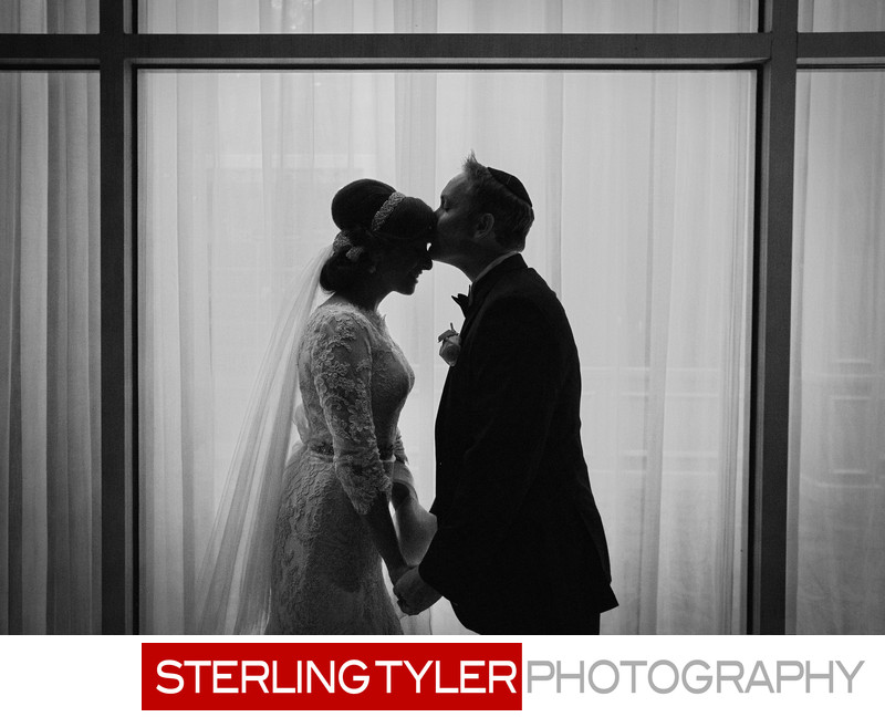 black and white silhouette wedding photograph