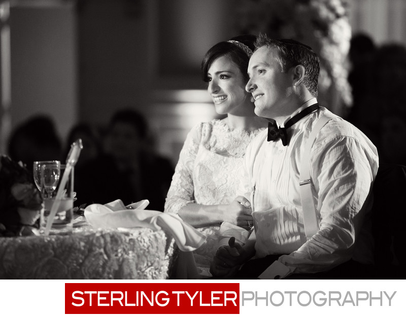 candid wedding photojournalism in black and white