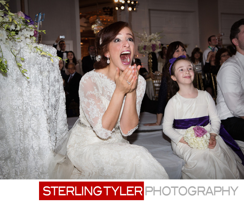 surprised bride reacting to flashbob los angeles