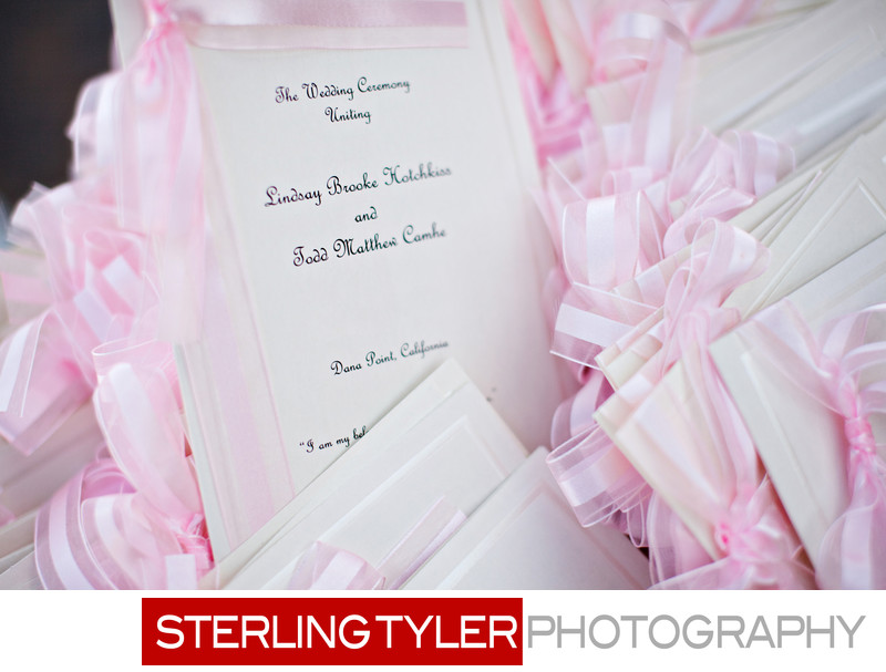 pink and white wedding program la photographer