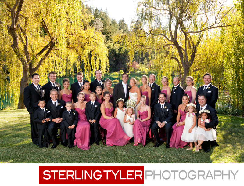 large bridal party portrait napa valley california