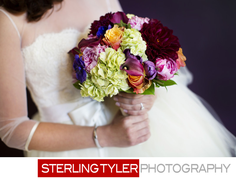 beverly hills wedding colorful bouquet detail photograph
