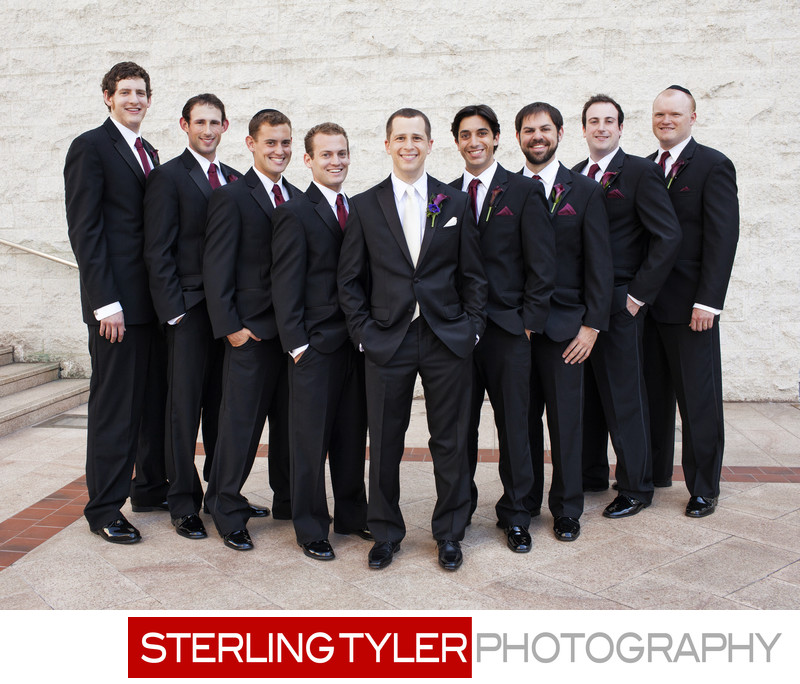 grooms with groomsmen on wilshire blvd in los angeles