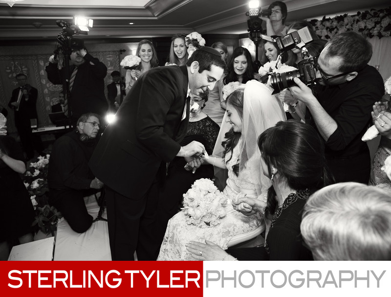 jewish wedding groom veiling bride montage beverly hills