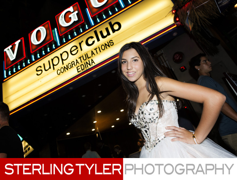 bat mitzvah portrait with supper club la sign
