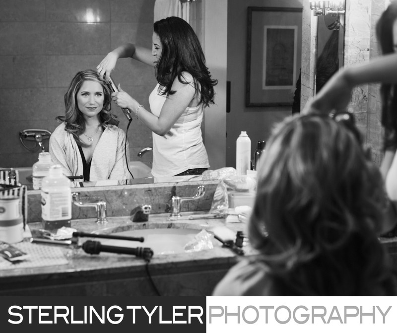 wedding photojournalism bride getting ready beverly wilshire hotel