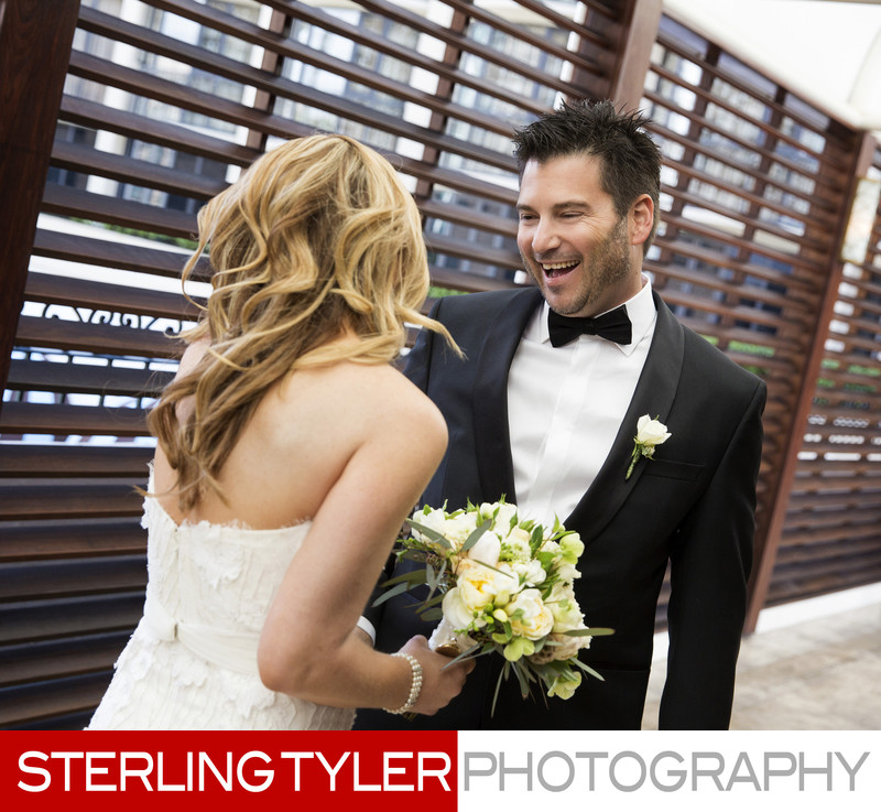 surprised groom with beautiful bride in beverly hills