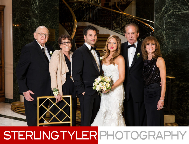 wedding family portrait beverly wilshire hotel staircase