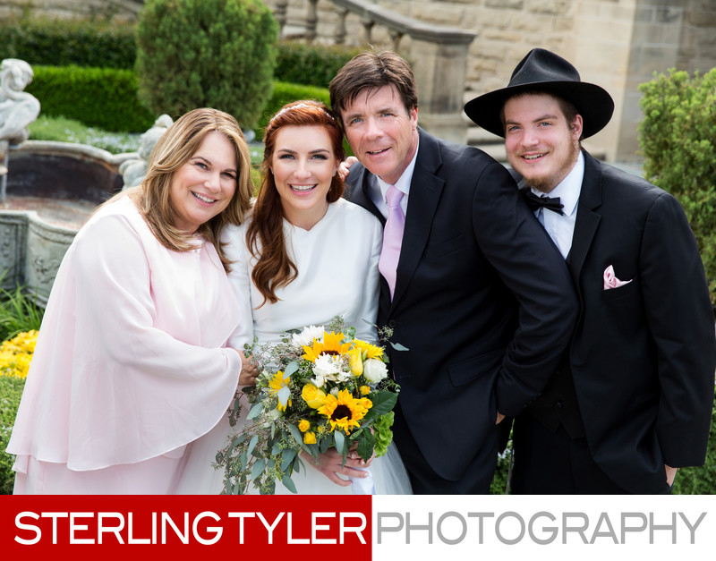 bride with family at greystone mansion beverly hills photography