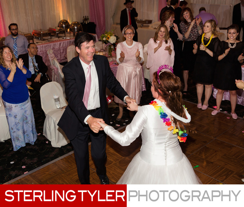 bride dancing with father at frum wedding