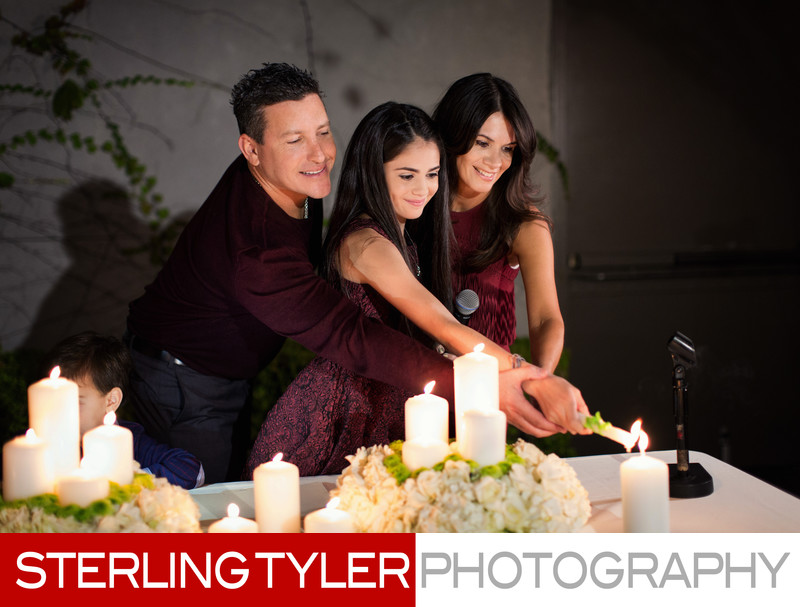 candle lighting ceremony at the luxe hotel sunset bat mitzvah