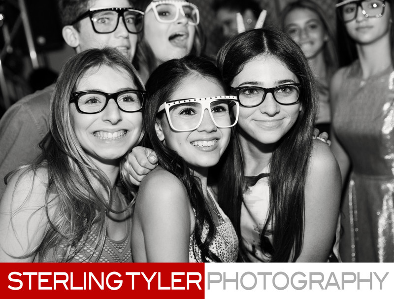 cute bat mitzvah girl with friends at mountaingate country club