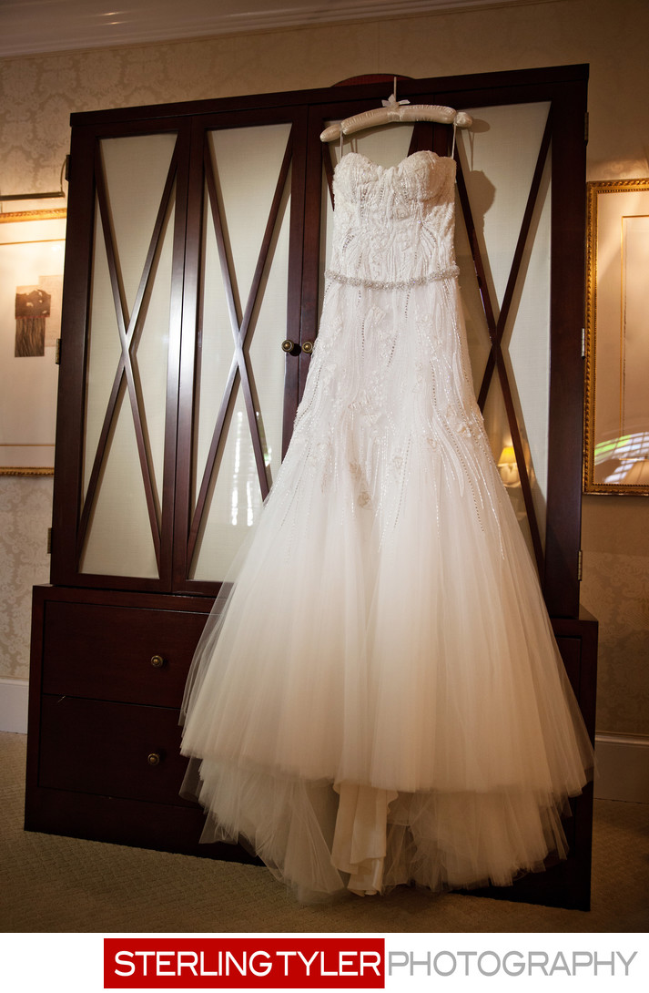 beaded wedding dress at beverly hills hotel