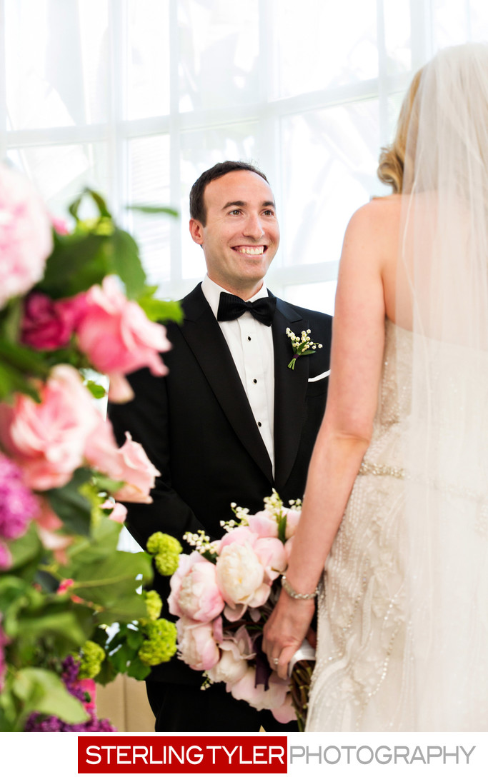 excited groom sees bride crystal ballroom beverly hills