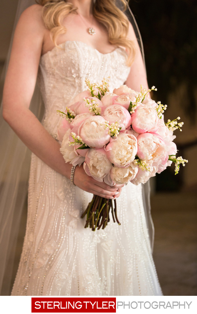 beautiful peonies bridal bouquet at beverly hills hotel