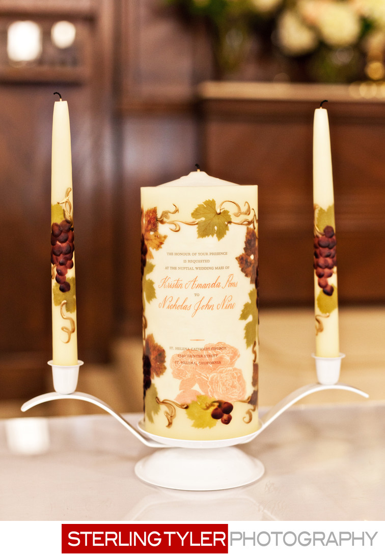 unity candle at st helena napa valley wedding