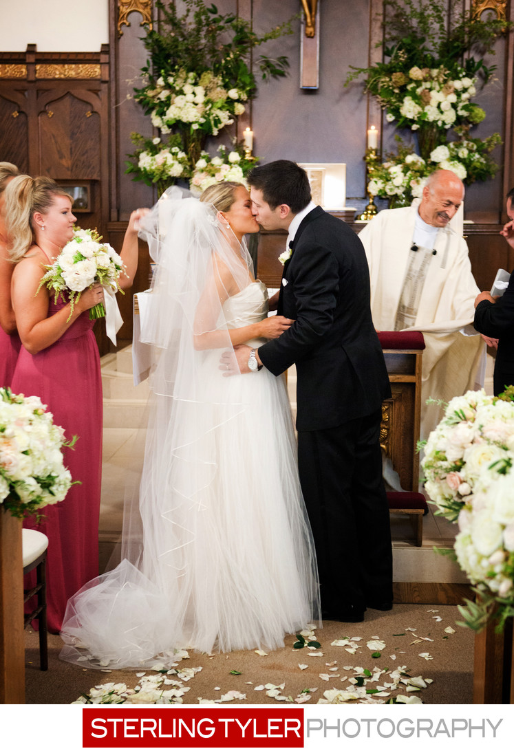 bride and groom kiss at napa valley wedding photograph