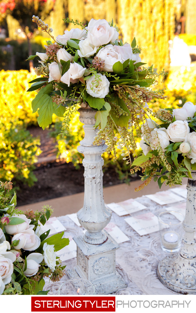 flowers and details on placecard table in napa valley