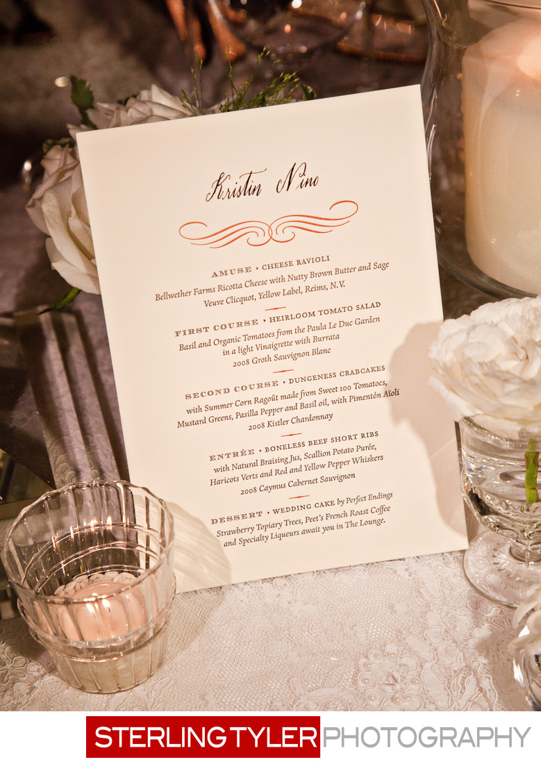 wedding menu detail photograph napa valley
