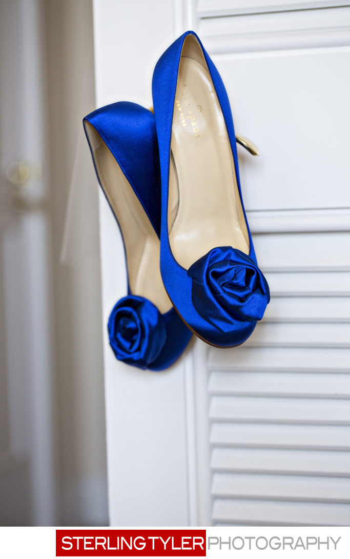 blue wedding dress shoes at beverly wilshire hotel