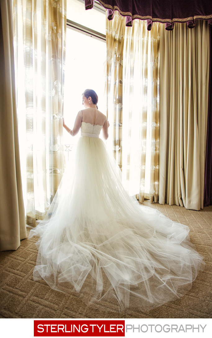 beverly wilshire hotel bride in window portrait