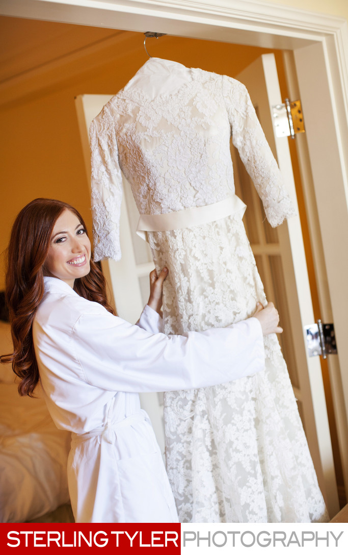 bride with wedding dress at montage beverly hills