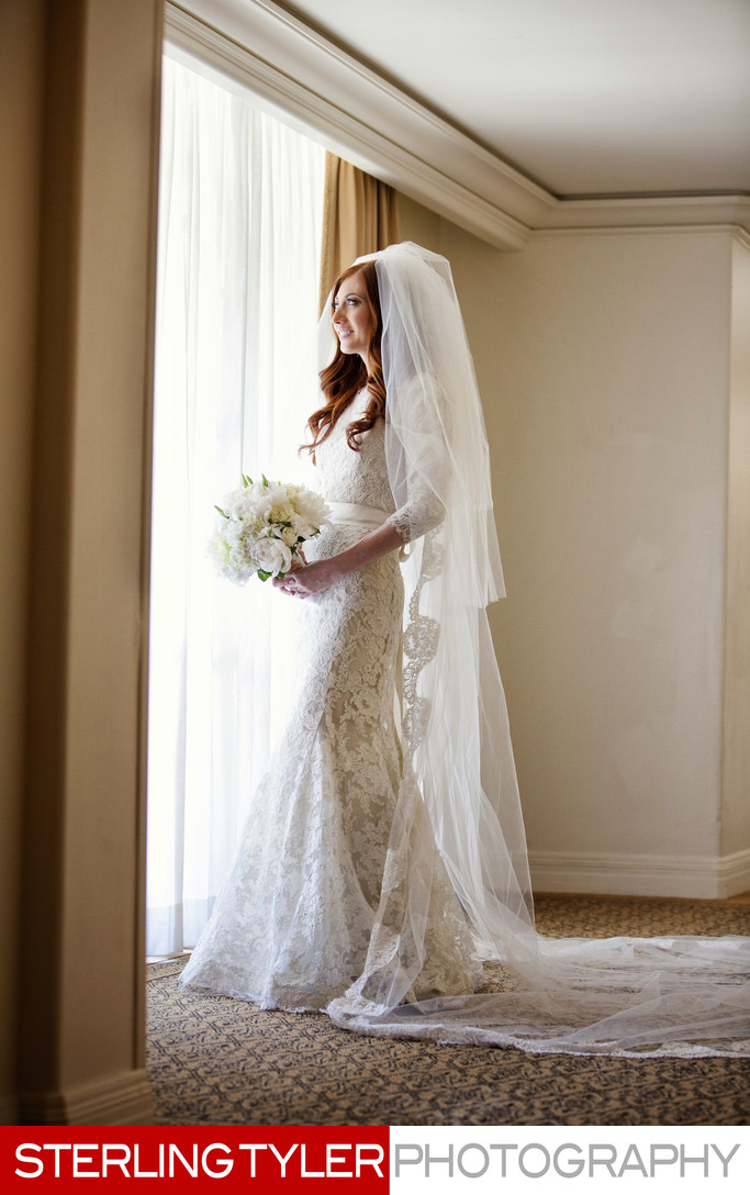 full length portrait bride with flowers los angeles