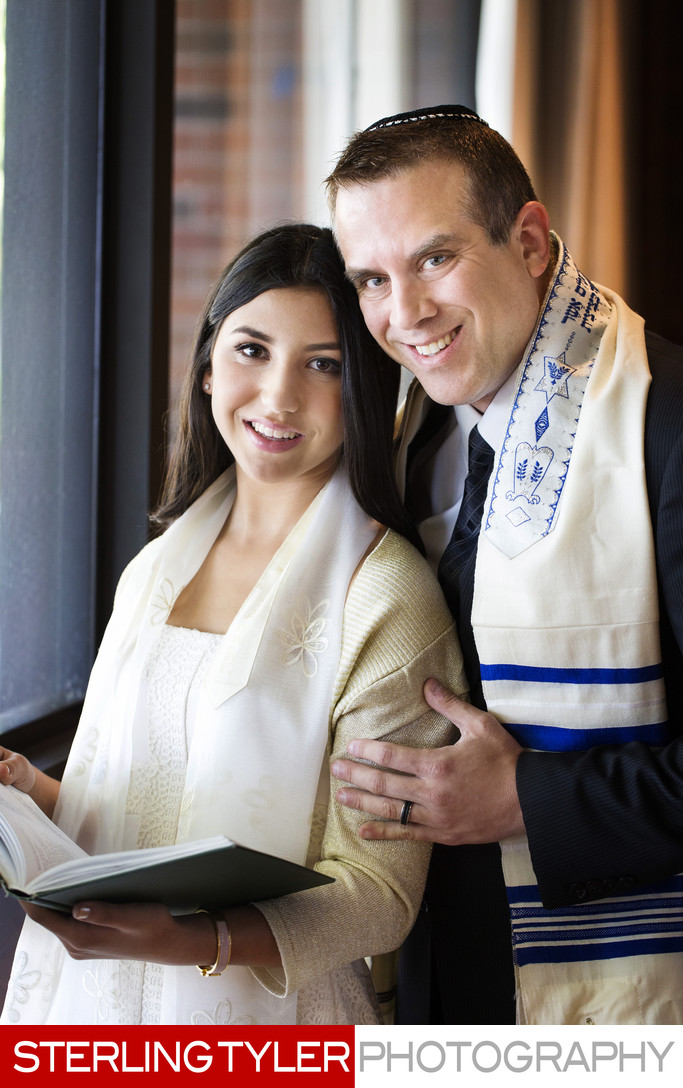 bat mitzvah and father portrait with tallit and prayer book