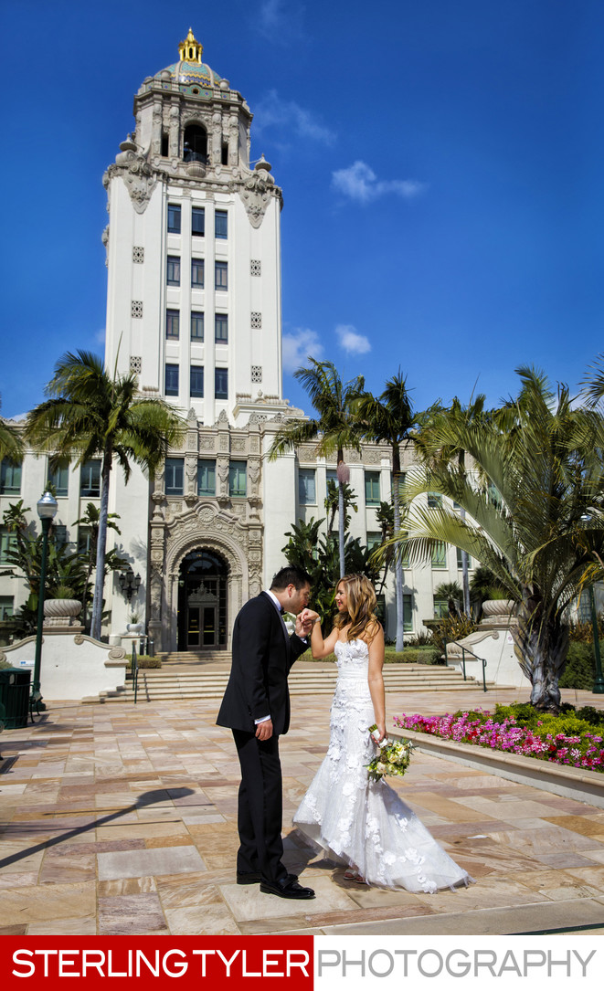 beverly hills wedding portrait beverly hills city hall