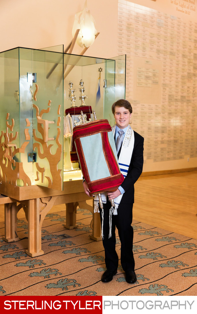 bar mitzvah portrait with torah and ark and eternal flame