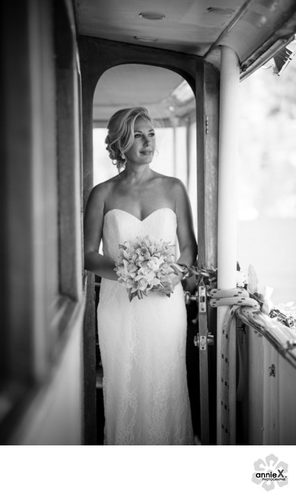 Bride on Vintage Boat in South Lake Tahoe
