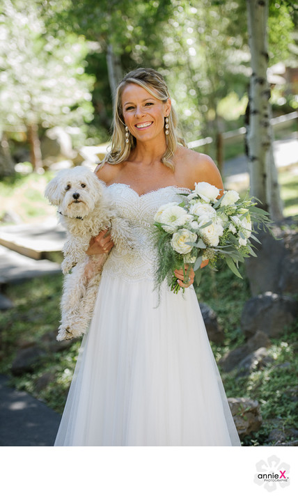Bride and her dog in Tahoe